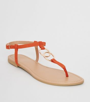 Orange Hammered Ring Strap Flat Sandals