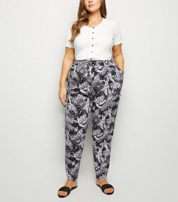 Curves Black Tropical Print Joggers