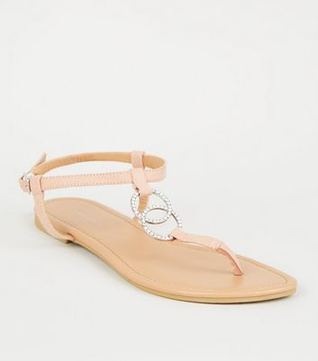 Nude Diamanté Linked Ring Strap Flat Sandals