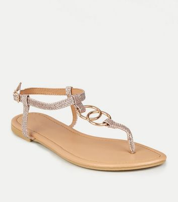 Rose Gold Glitter Strap Ring Flat Sandals