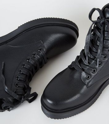Black Chunky Lace Up Boots | New Look