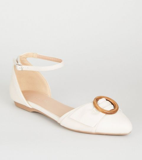 355386864 ... Off White Leather-Look Ring Front Pumps ...