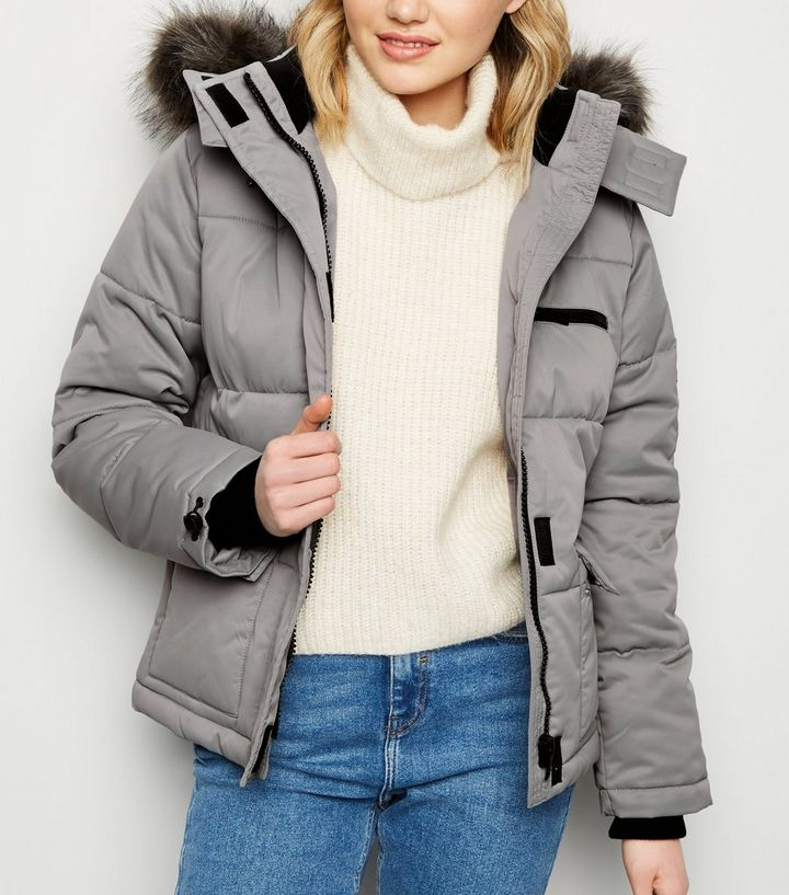 c863240bf Grey Faux Fur Trim Hooded Puffer Jacket Add to Saved Items Remove from  Saved Items