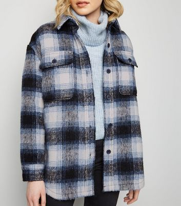 Black Brushed Check Coat