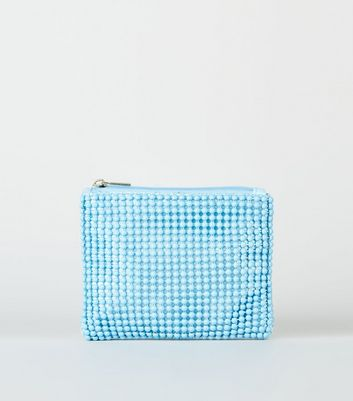 Pale Blue Beaded Zip Coin Purse