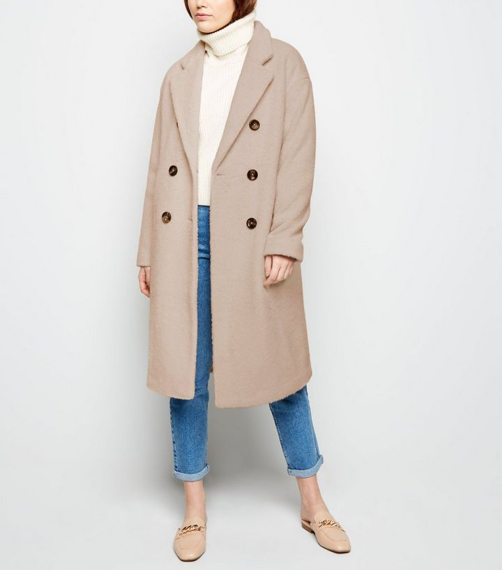 7f022db0ca2b40 Stone Double Breasted Formal Coat | New Look
