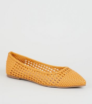 Mustard Woven Pointed Ballet Pumps