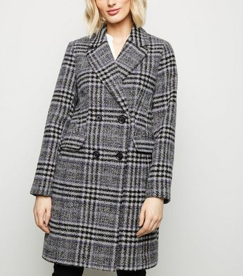 Black and Lilac Textured Check Coat
