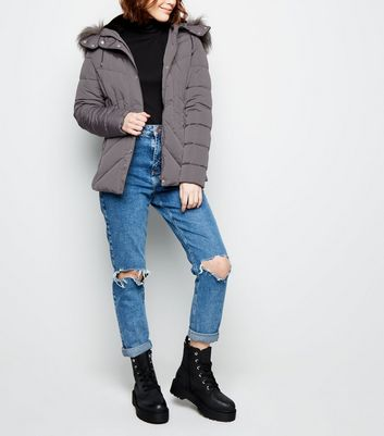 Pale Grey Faux Fur Hood Puffer Jacket
