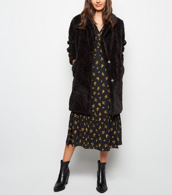 Black Textured Faux Fur Coat