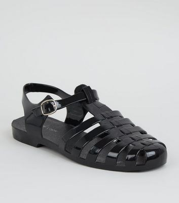 Black T-Bar Caged Jelly Sandals