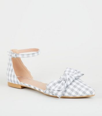 Grey Gingham Bow Front 2 Part Pumps