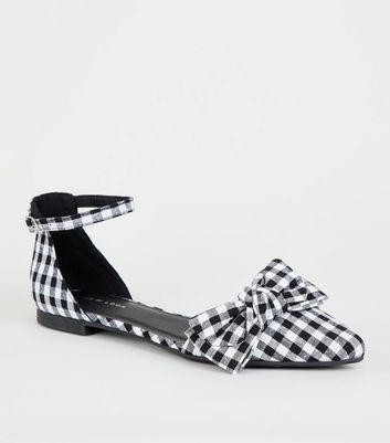 Black Gingham Bow Front 2 Part Pumps