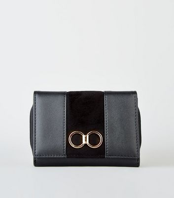 Black Leather-Look Ring Front Purse