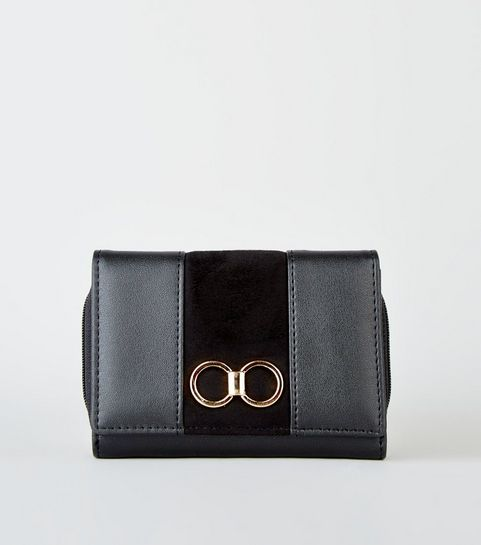 d21622652e641 ... Black Leather-Look Ring Front Purse ...