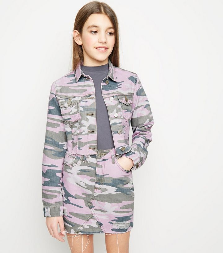 209b664d0f936 Girls Lilac Camo Denim Jacket | New Look