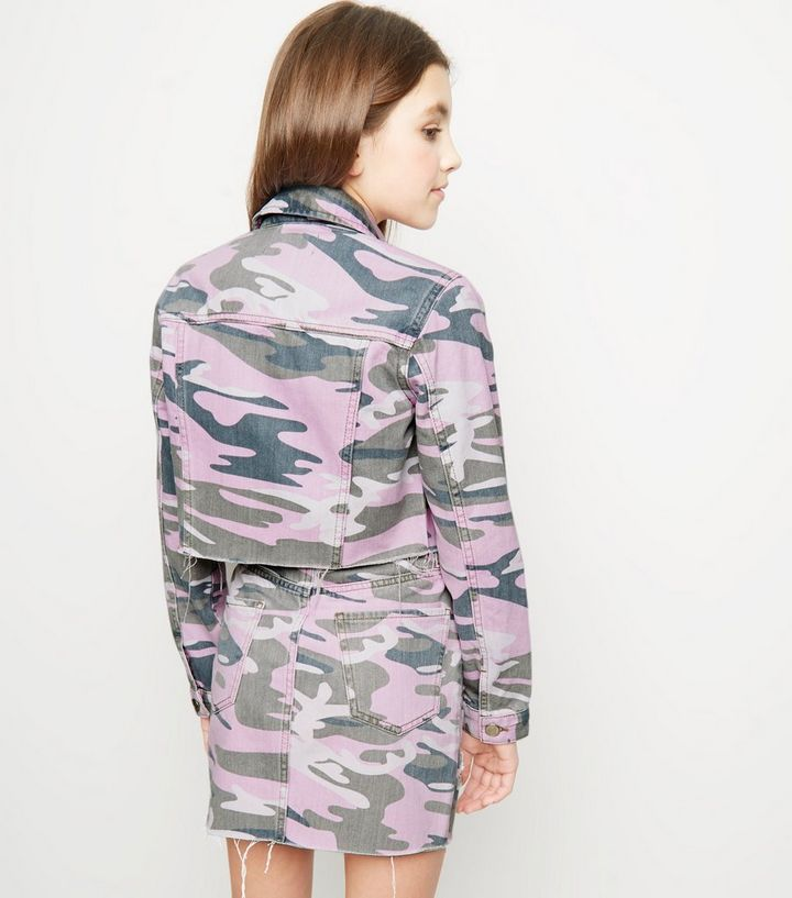 97cf342051221 ... Girls Lilac Camo Denim Jacket. ×. ×. ×. Shop the look