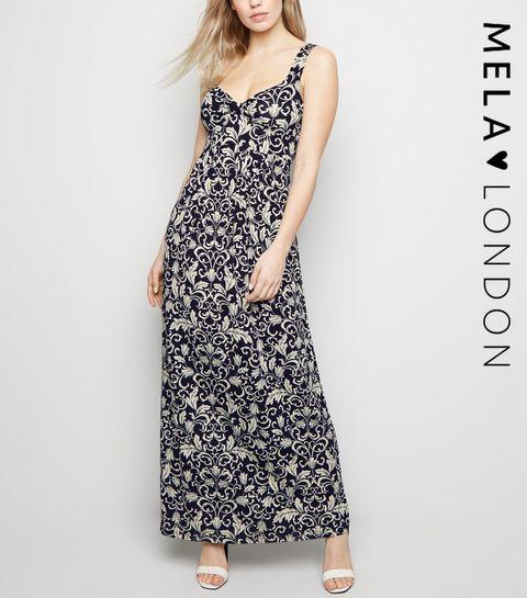 1bdb977ae55 ... Mela Blue Floral Maxi Dress ...