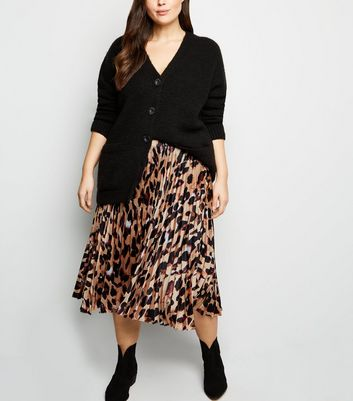 Curves Brown Leopard Print Pleated Satin Midi Skirt