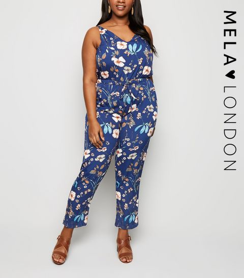 faa3516f398 ... Mela Blue Floral Print Tie Waist Jumpsuit ...