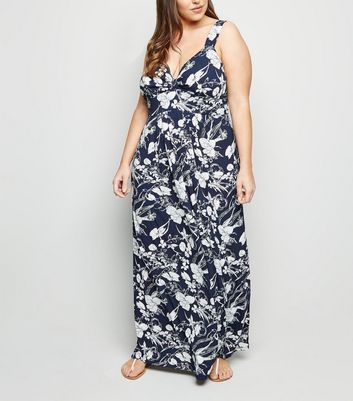Mela Curves Navy Floral Maxi Dress