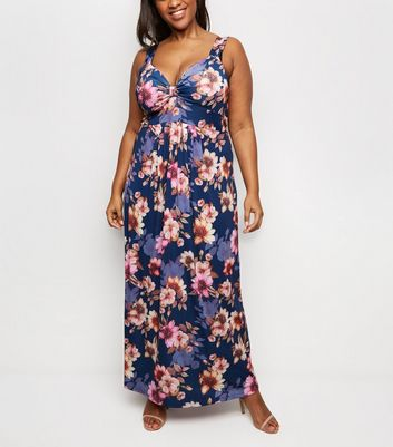 Mela Curves Navy Floral Print V Neck Maxi Dress