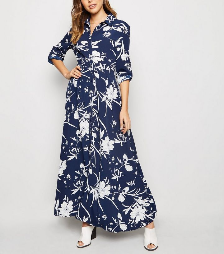 c81b020c6b Blue Vanilla Blue Floral Maxi Shirt Dress Add to Saved Items Remove from  Saved Items