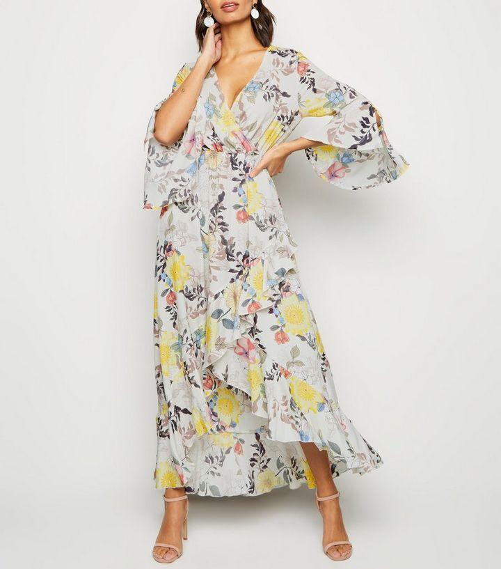 Blue Vanilla Pink Floral Flare Sleeve Maxi Dress New Look