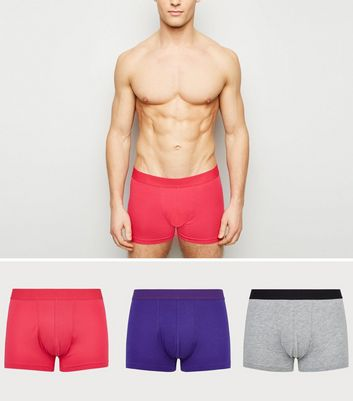 3 Pack Pink, Grey Marl and Blue Trunks