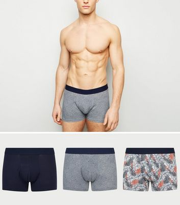 3 Pack Light Grey Leaf Print Trunks