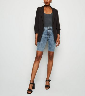 Bright Blue Acid Wash Denim Knee Shorts