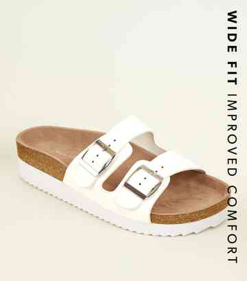 Wide Fit White Leather-Look Footbed Sliders