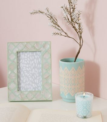 Mint Green Patterned Vase