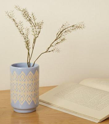 Bright Blue Patterned Vase
