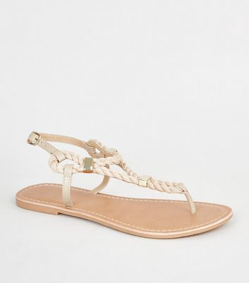 Wide Fit Off White Rope Strap Flat Sandal
