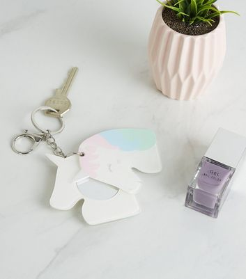 White Unicorn Mirror Keyring