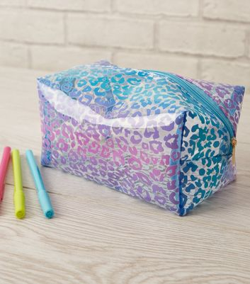 Multicoloured Clear Leopard Print Cosmetic Bag