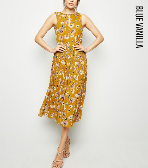 d4b2d832ce429 ... Blue Vanilla Mustard Floral Pleated Midi Dress ...