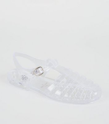 Girls Clear Caged T-Bar Jelly Sandals