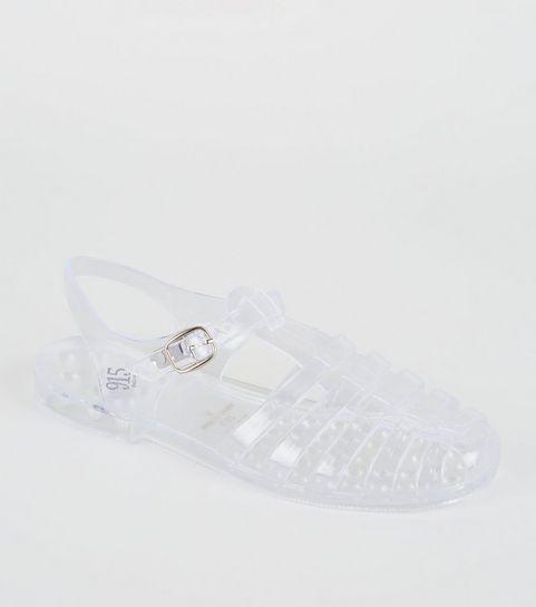 cd7de04655b ... Girls Clear Caged T-Bar Jelly Sandals ...