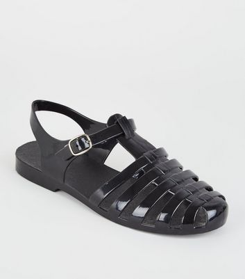 Girls Black Caged T-Bar Jelly Sandals