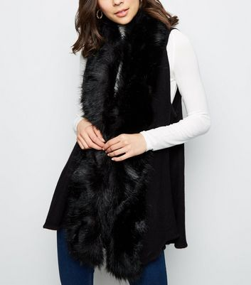 Apricot Black Faux Fur Trim Gilet