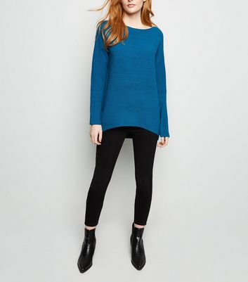 Apricot Blue Ribbed Oversized Jumper