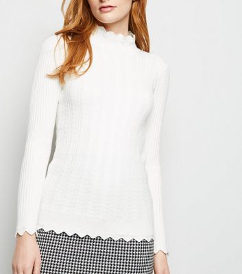 Apricot Cream Scallop Edge Cable Knit Jumper by New Look