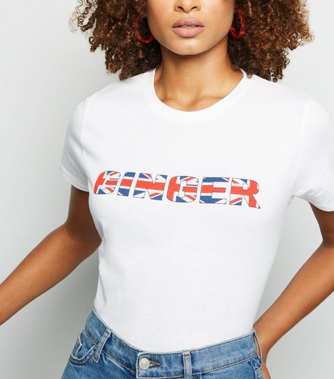 8186456bb05 ... White Ginger Union Jack Slogan T-Shirt ...