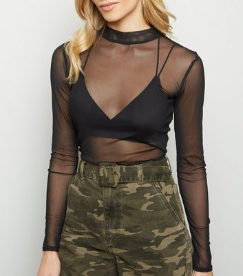 Black Mesh High Neck Crop Top