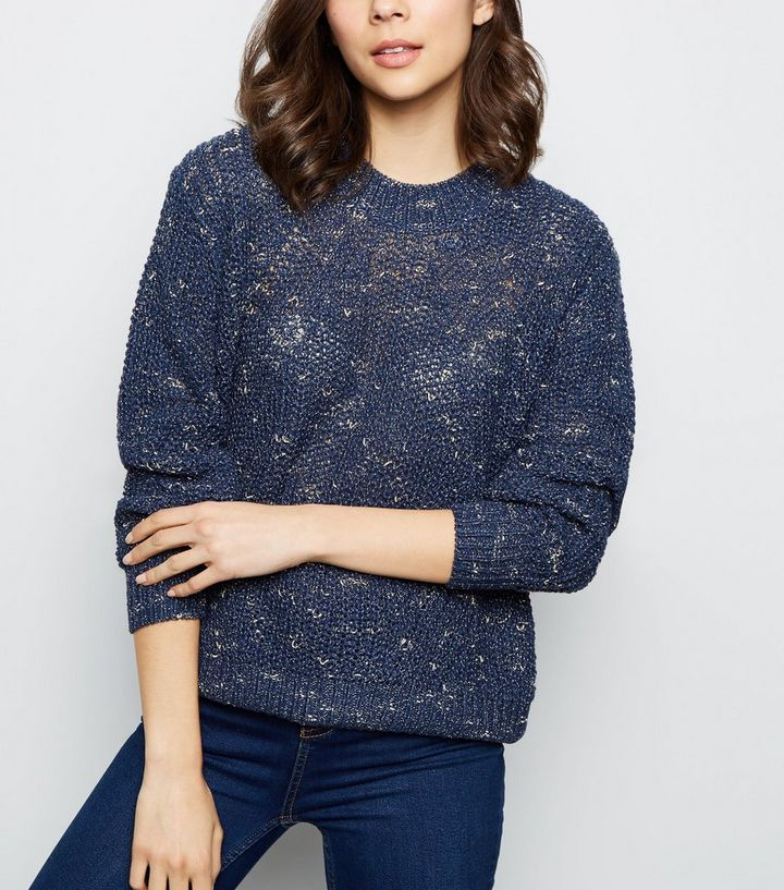 62acadf12c0fc3 Apricot Navy Nep Knit Jumper