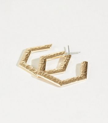 Gold Beaten Hexagon Hoop Earrings