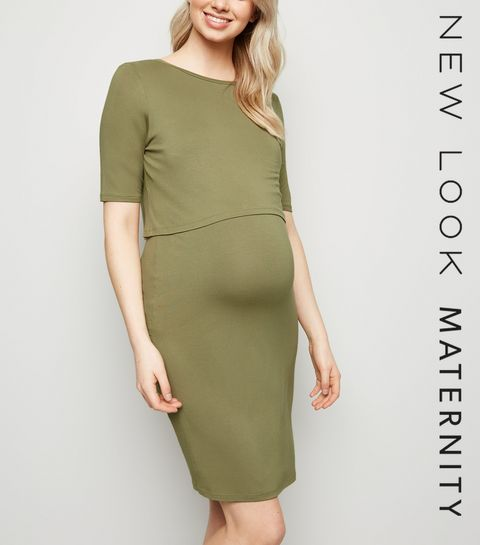 ffdb5de295d ... Maternity Olive Layered Nursing Midi Dress ...
