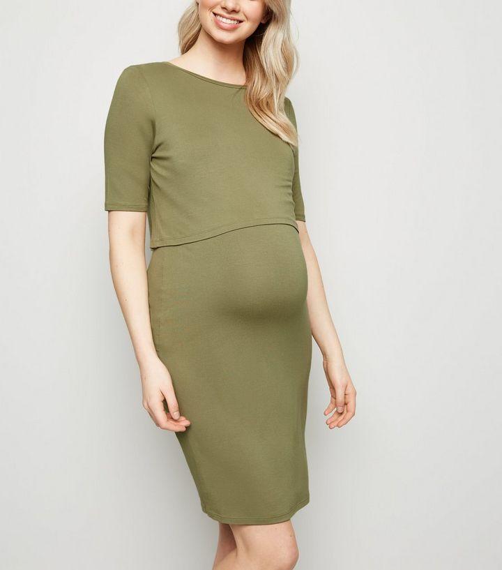 b30db8d204291 Maternity Olive Layered Nursing Midi Dress